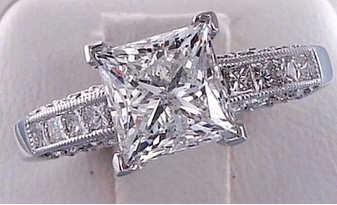 2.65 cts Princess Cut Solitaire Lab Diamond Engagement Ring Solid 14 kt White Gold