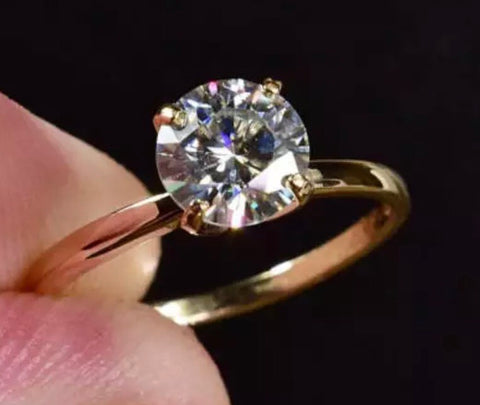 2.98 ct Brilliant Cut Solitaire Moissanite Engagement Ring Solid 14kt White Gold
