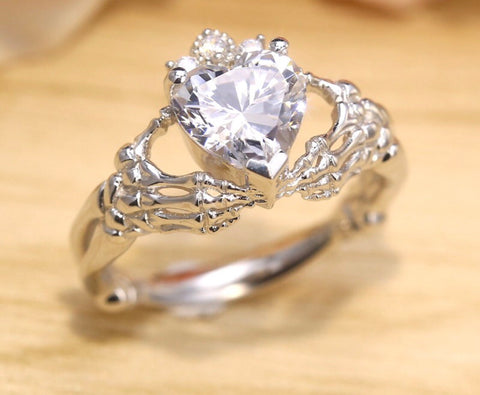 Skeleton Claddagh Engagement Ring