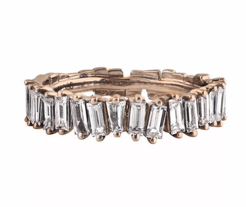 1.12ct Diamonds in 14K Rose Gold Deconstructed Baguette Half Eternity Band