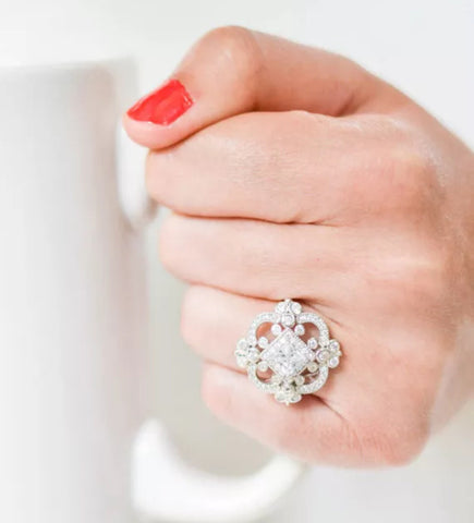Lab Created Diamond Filigree Engagement Ring in 14k Gold