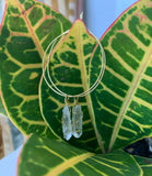 18k Hoop Earrings with Quartz Crystal Charm