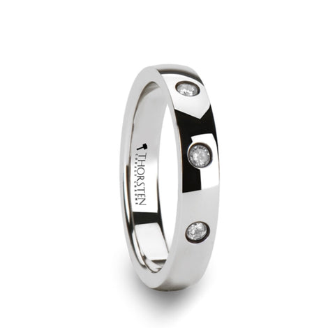 4mm Tungsten Carbide Wedding Band with natural Diamonds