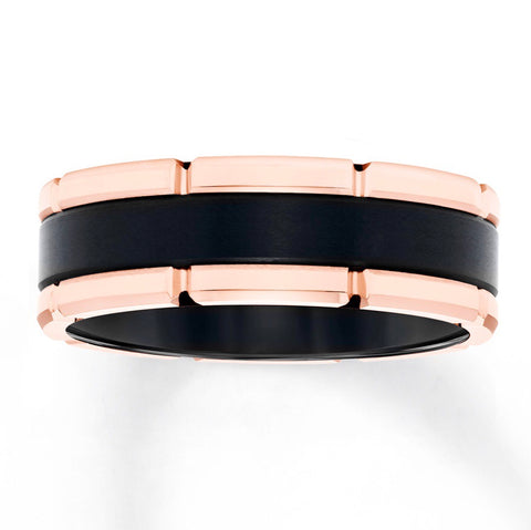 14k rose gold and black tungsten 8mm band