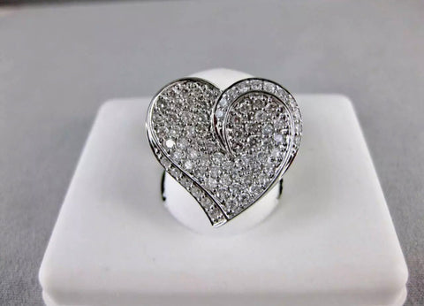 1.50CT ROUND CUT DIAMOND ENGAGEMENT HEART RING 14KT SOLID WHITE GOLD