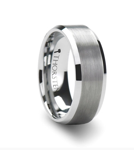 SHEFFIELD Beveled Tungsten Ring with Brushed Center - 8mm
