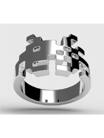 Atari Space Invader Ring in Rhodium Plated Sterling Silver