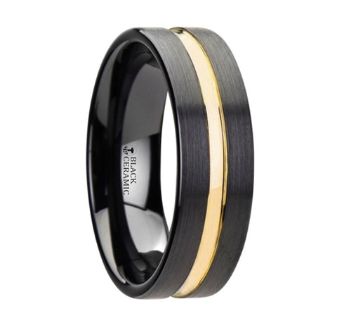 Black and Gold Tungsten Band
