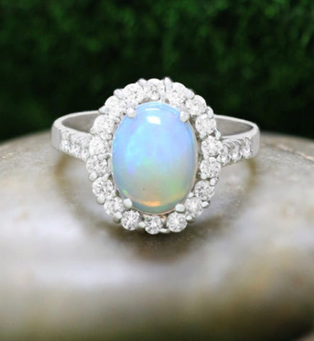 14k Australian Opal Engagement Ring