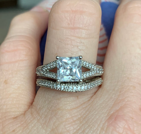 Princess Cut Milgrain Wedding Set