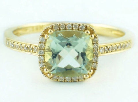 Green Amethyst and Diamond Halo Ring Set in 14k Gold