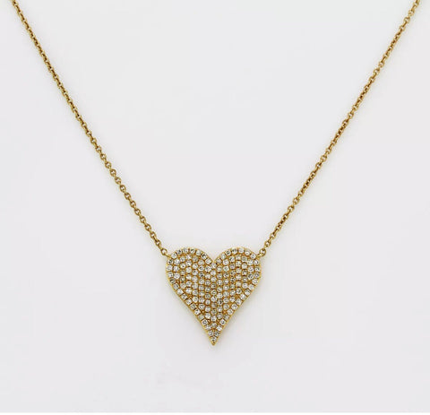 14K Gold Micro Pave' Heart Necklace