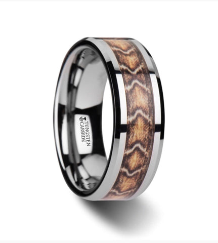 Viper Boa Skin Inlay Tungsten