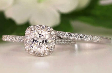 1.25 ct Cushion Halo Wedding Set