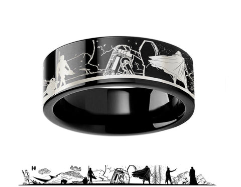 Star Wars Force Awakens Scene Jakku Luke Skywalker Rey Kylo Ren Scene Black Tungsten Engraved Ring