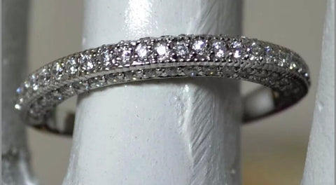 14kt White Gold Diamond Wedding Band Round Brilliant Cut 0.75 cts
