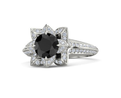 Black Diamond Lotus Engagement Ring