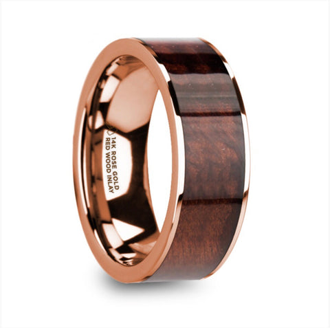 8mm 14k Rose Gold Band with Redwood Inlay