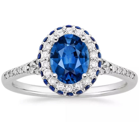 14k white gold engagement ring Lab Created Sapphire and diamond.