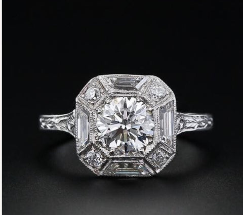 Art Deco Vintage Inspired Octogon Engagement Ring