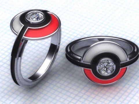 Pokemon PokeBall  lab created diamond & enamel Ring.