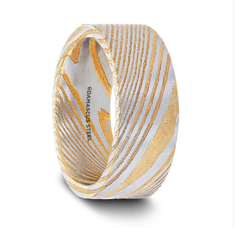 Bishop Gold  Damascus Steel Men's Wedding Band