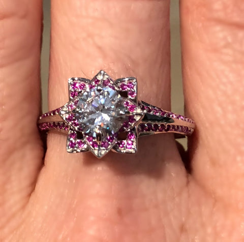 Ruby and Platinum Lotus Engagement Ring