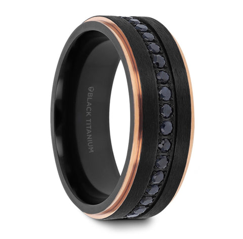 ASTRO Flat Brushed Black Titanium and black diamond Ring