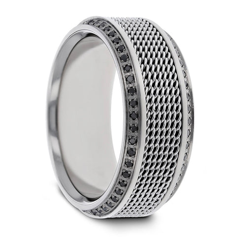 Gauntlet Chain Titanium and Black Diamond Wedding Band