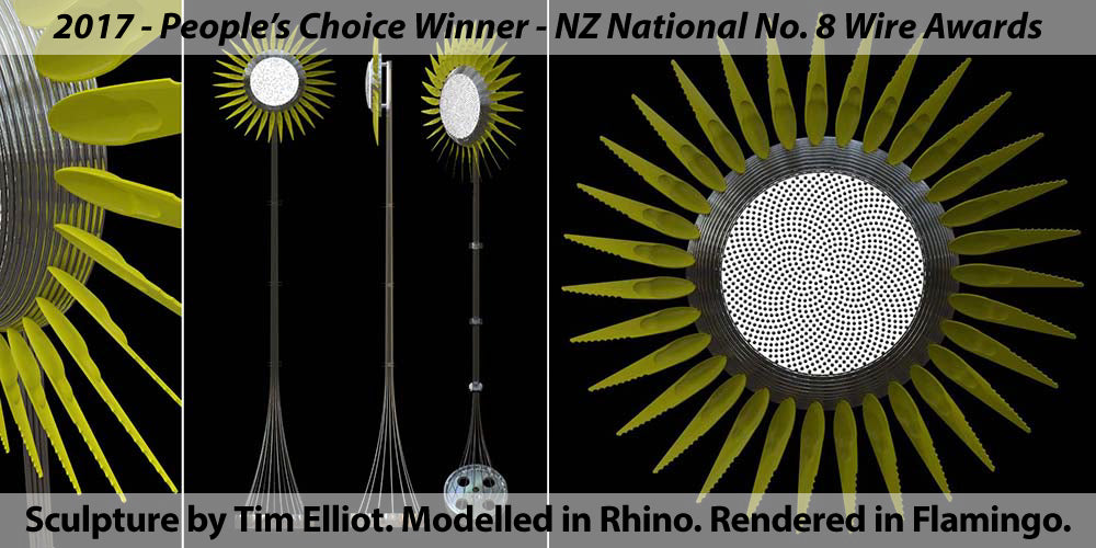 2017 - People's Choice Winner - NZ National No. 8 Wire Awards. Sculpture by Tim Elliot. Modelled in Rhino. Rendered in Flamingo.