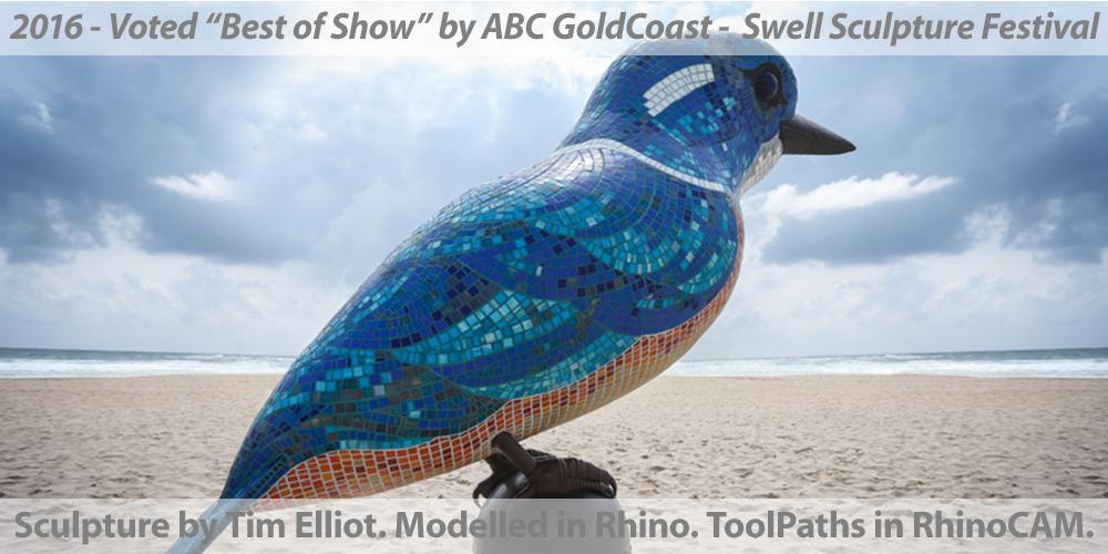 """Kingfisher"" Sculpture by Tim Elliot of 3DM-WORLD. Mosaic by Kate Millington. Voted ""Best of Show"" by ABC GoldCoast at the 2016 Swell Sculpture Festival, Australia. Modelled in Rhino, ToolPaths in RhinoCAM."
