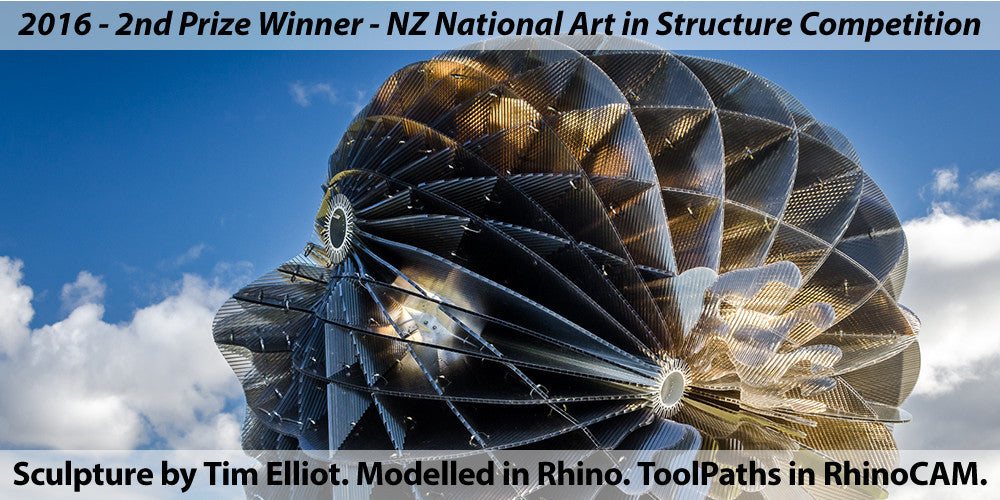 """Dawn Awakening"" Sculpture by Tim Elliot of 3DM-WORLD. Awarded 2nd Prize in the National NZ Art in Structure Competition, 2016. Modelled in Rhino, ToolPaths in RhinoCAM."