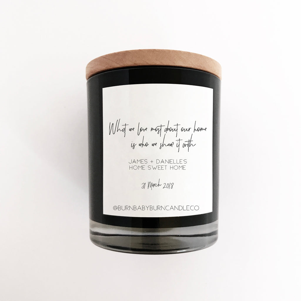 Home Sweet Home Housewarming Gift Candle - Customisable Name and Date, BLACK