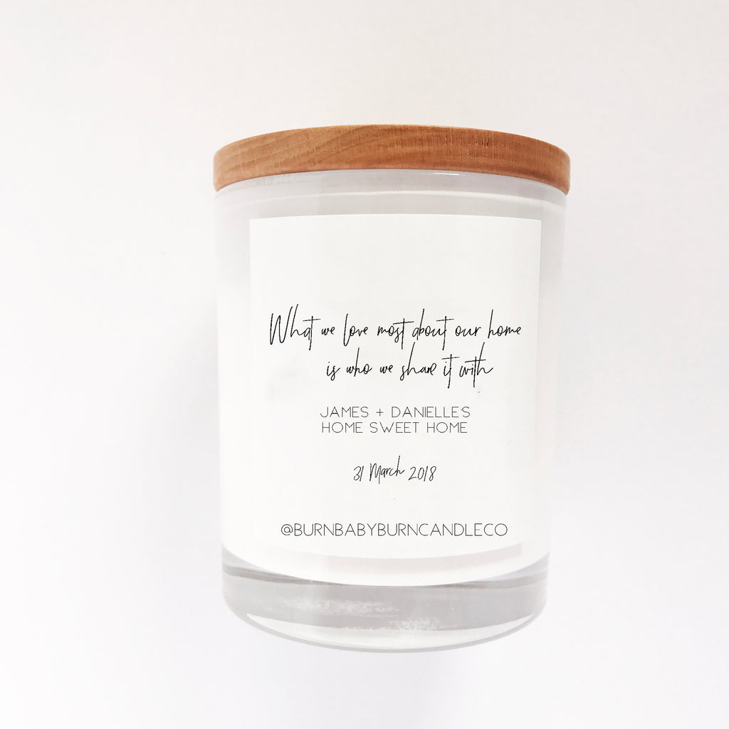 Home Sweet Home Housewarming Gift Candle - Customisable Name and Date, WHITE