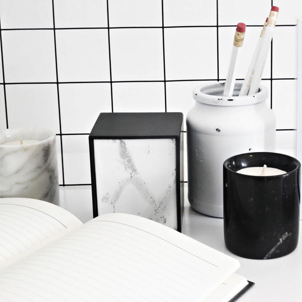 Mini Marble Candle Black