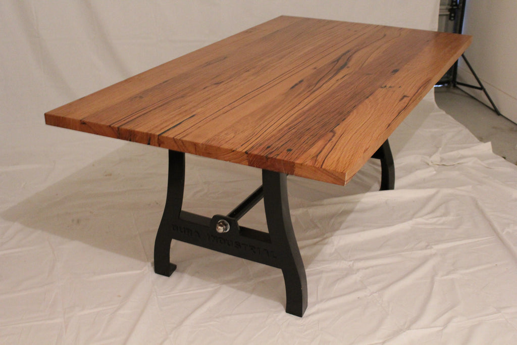 Traditional Look Cast Iron Table With Timber Top