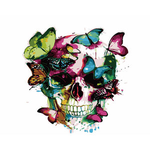 "DIY Painting By Numbers - Skull And Butterfly(16""x20"" / 40x50cm)"
