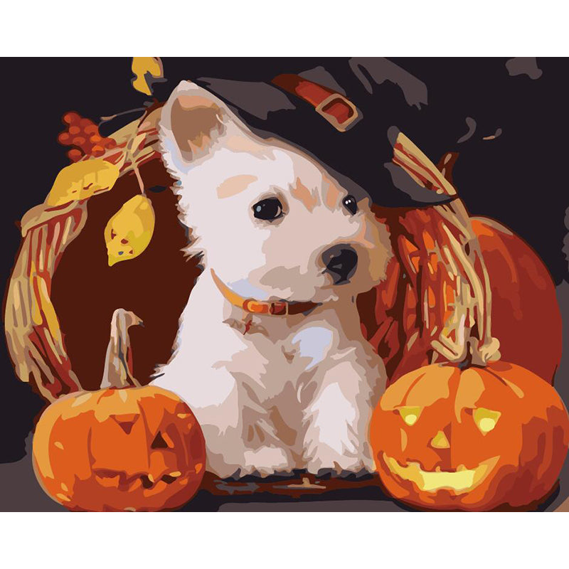 "DIY Painting By Numbers - Dog With Pumpkin (16""x20"" / 40x50cm)"