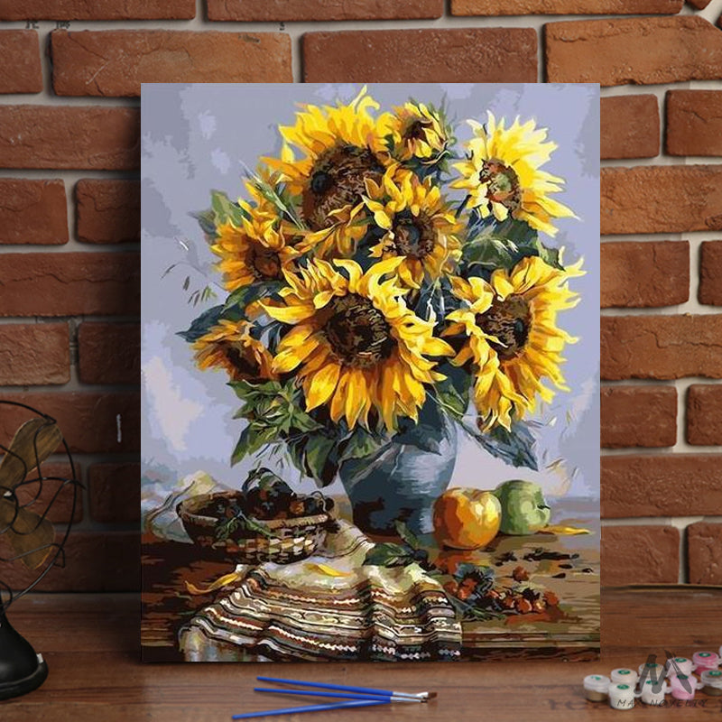 "DIY Painting By Numbers -  SunFlowers (16""x20"" / 40x50cm)"