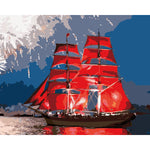 "DIY Painting By Numbers - Red Sailing Boat(16""x20"" / 40x50cm)"