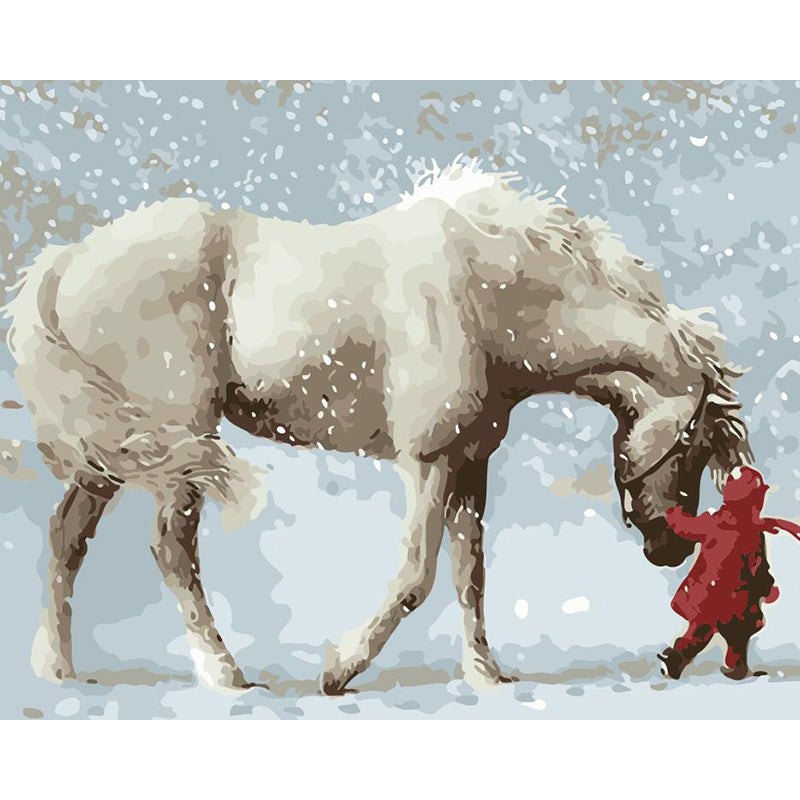 "DIY Painting By Numbers - Girl & White Horse (16""x20"" / 40x50cm)"