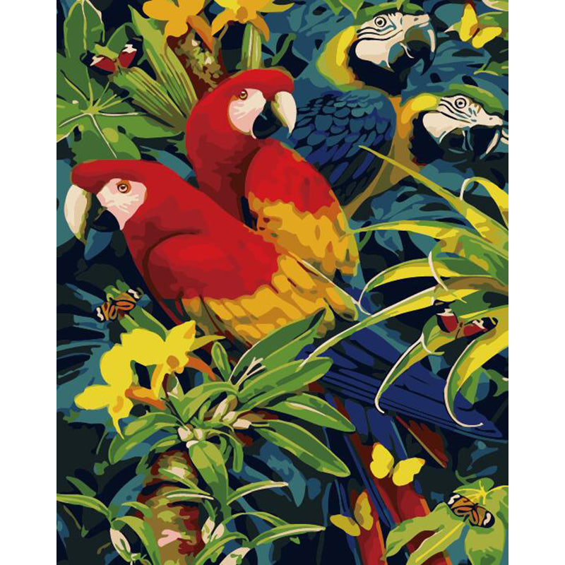 "DIY Painting By Numbers -Parrots (16""x20"" / 40x50cm)"