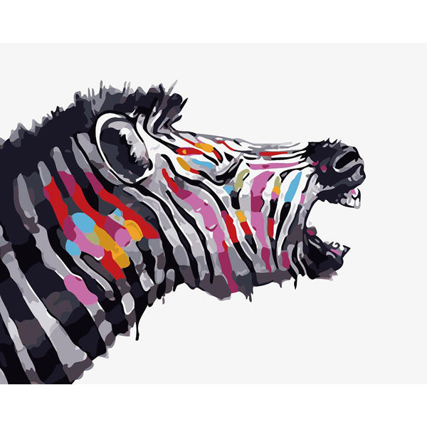 "DIY Painting By Numbers - Cool Zebra (16""x20"" / 40x50cm)"