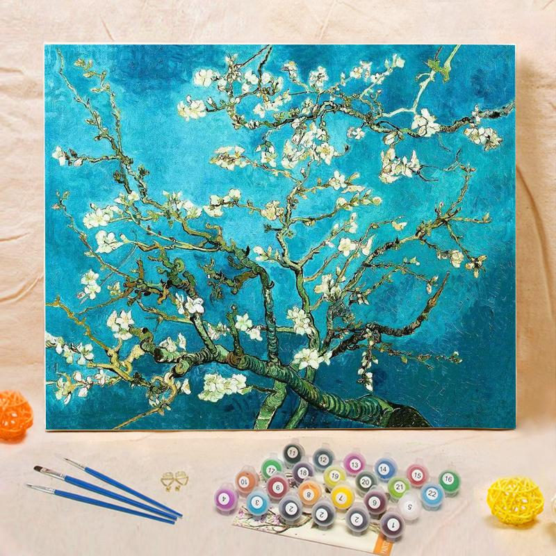 "DIY Painting By Numbers - Almond blossom (16""x20"" / 40x50cm)"