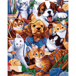 "DIY Painting By Numbers - Dogs And Cats (16""x20"" / 40x50cm)"