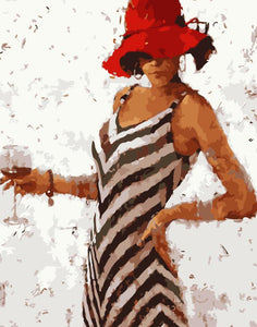"DIY Painting By Numbers -  Red Hat Woman (16""x20"" / 40x50cm)"