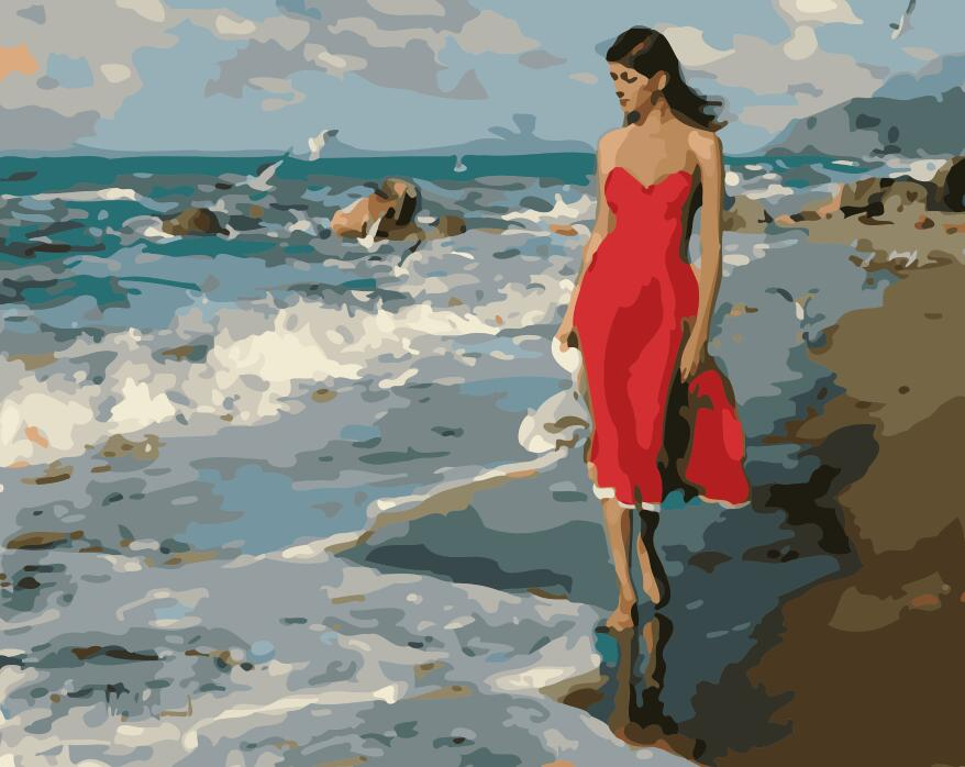 "DIY Painting By Numbers - Girl On The Beach (16""x20"" / 40x50cm)"