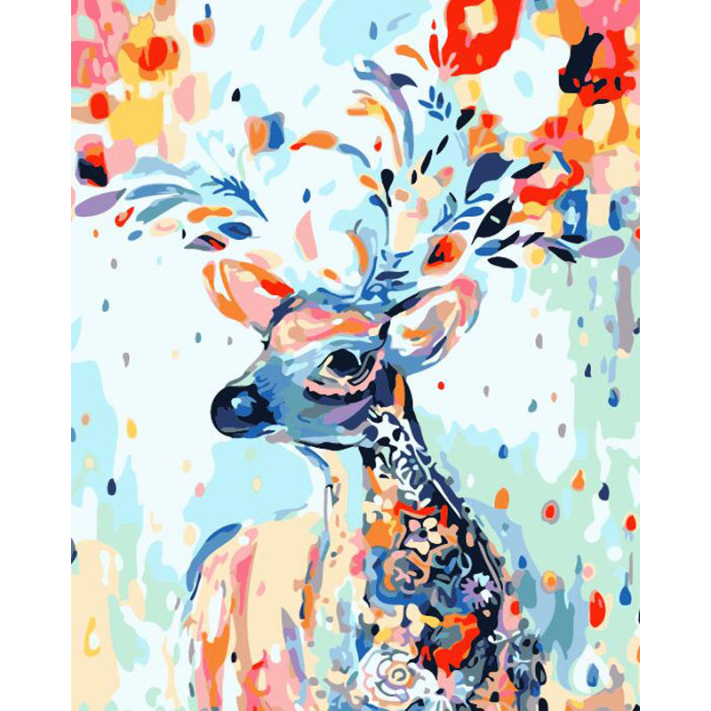 "DIY Painting By Numbers -Colorful Deer (16""x20"" / 40x50cm)"