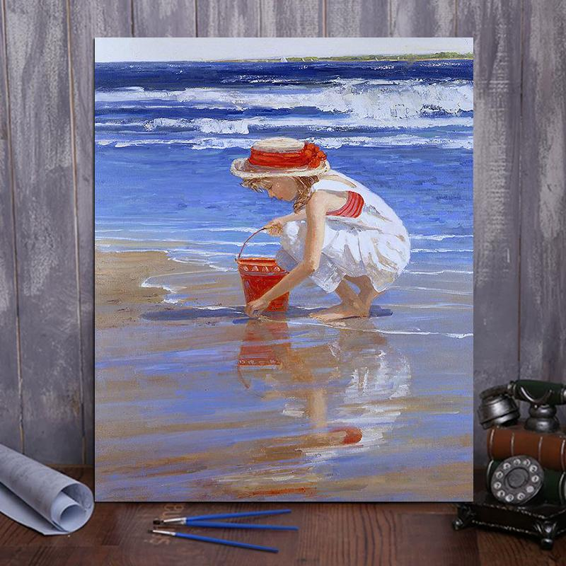 "DIY Painting By Numbers -Girl picking shells  (16""x20"" / 40x50cm)"