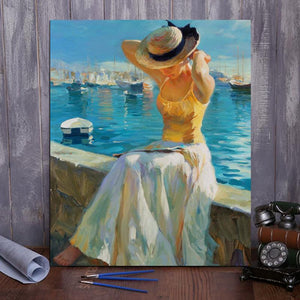 "DIY Painting By Numbers -Girl sitting by the sea  (16""x20"" / 40x50cm)"